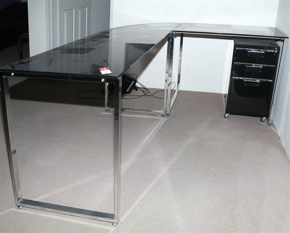 Smoked Glass Top Desk w/ Right Hand Return