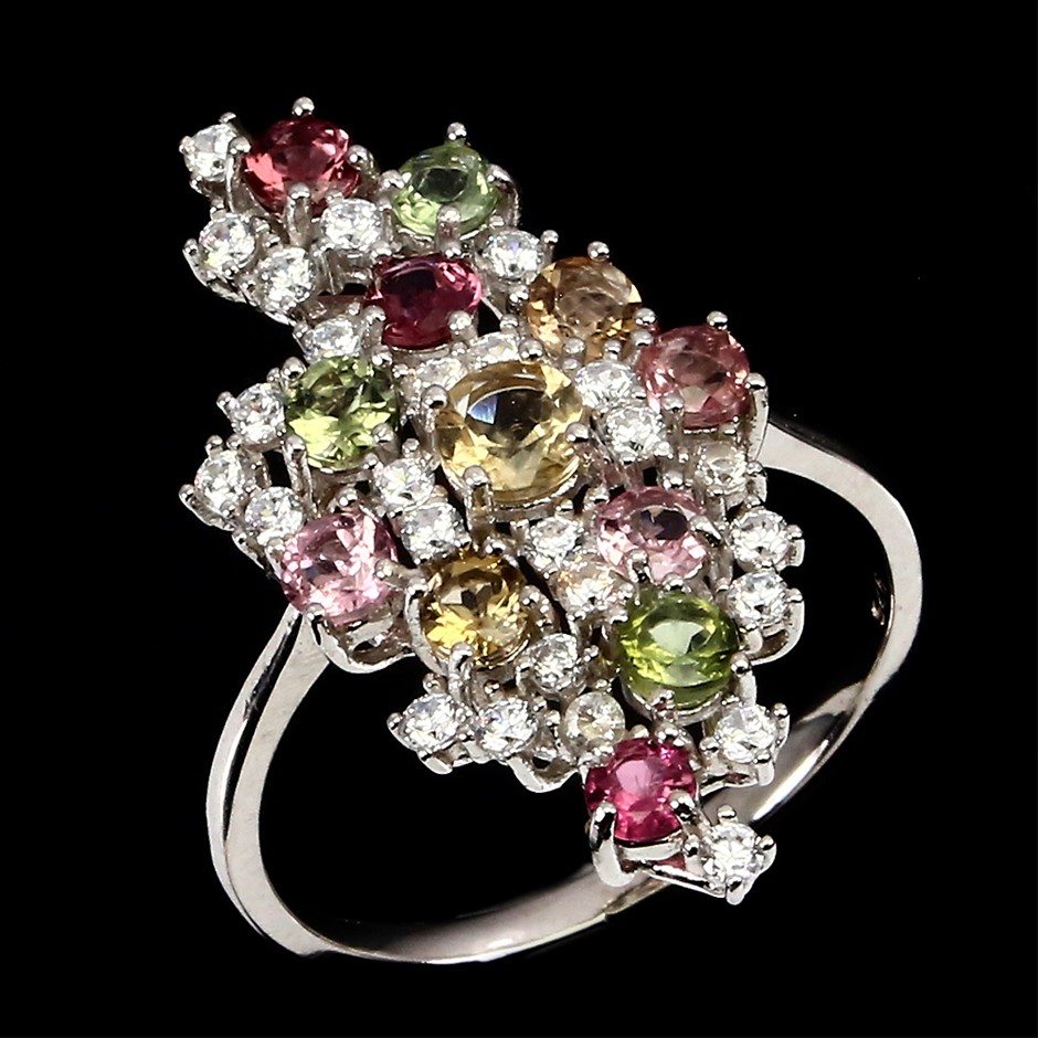 Beautiful Genuine Tourmaline Statement Ring.
