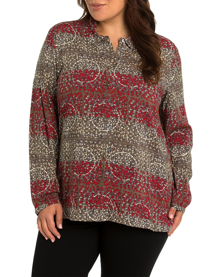 YARRA TRAIL PLUS Long Sleeve Stitch Print Shirt. Size 20, Colour: Red Stitc