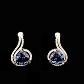 SimplySelena AAA Blue Tanzanite Stud Earrings