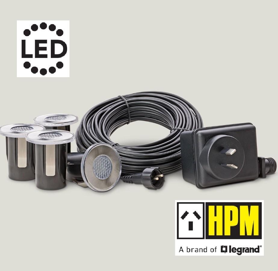 HPM (4 Piece) Round LED Deck & Step Light Kit DIY Stainless Steel White