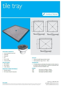 TILE TRAY BMC 990 X 990 WITH PUDDLE FLAN