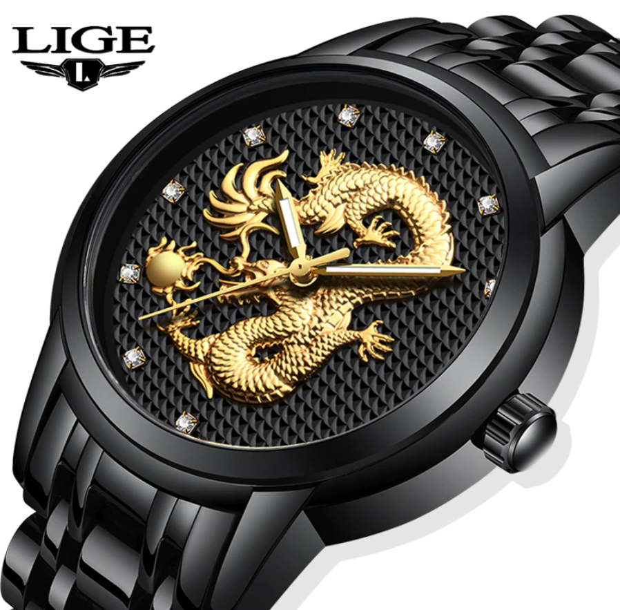 LIGE Men Fashion, Luxury & Business Quartz Gold Dragon Watch Lige 9850
