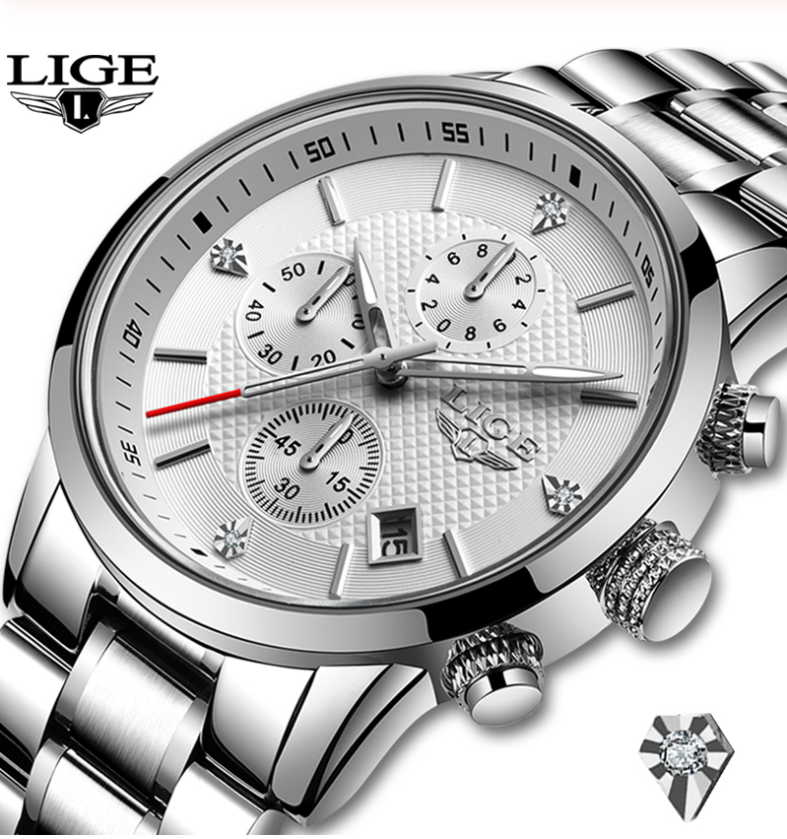LIGE Men Busine& Luxury Quartz Chronograph Water-Resistant Watch Lige 10012