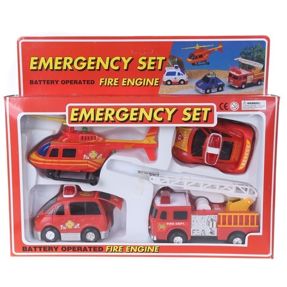 Emergency 4pc Toy Set with Battery Operated Fire Engine. (SN:ZFG00015) (273