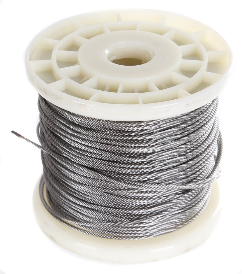 100M x Stainless Steel Wire Rope, 1.6mm Dia, Construction 7x7, Grade 316. B
