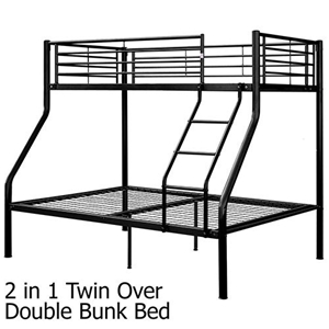 Twin Over Double Bunk Bed - Metal w/ Ladder - Black