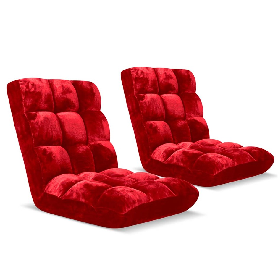 SOGA Floor Recliner Folding Lounge Sofa Folding Chair Cushion Red x2