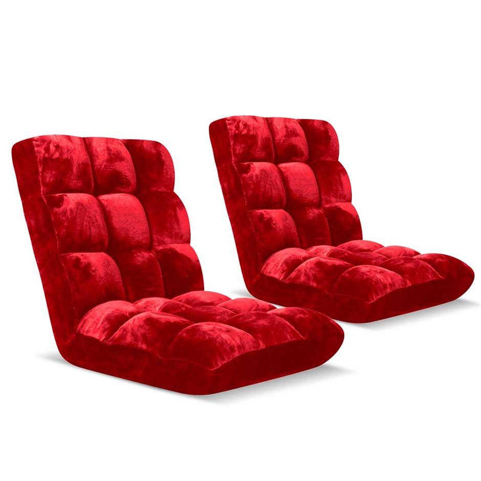 SOGA Floor Recliner Folding Lounge Sofa Folding Chair Cushion Red x2