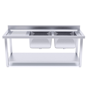 SOGA S/S Work Bench Right Dual Sink Comm