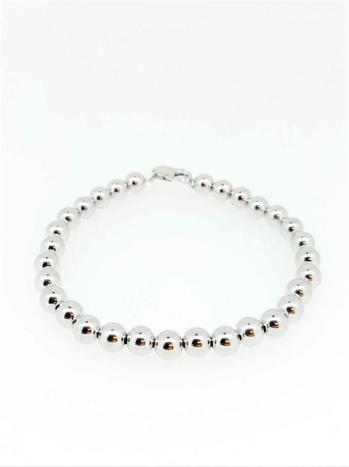 Sterling Silver Bead Bracelet 6mm