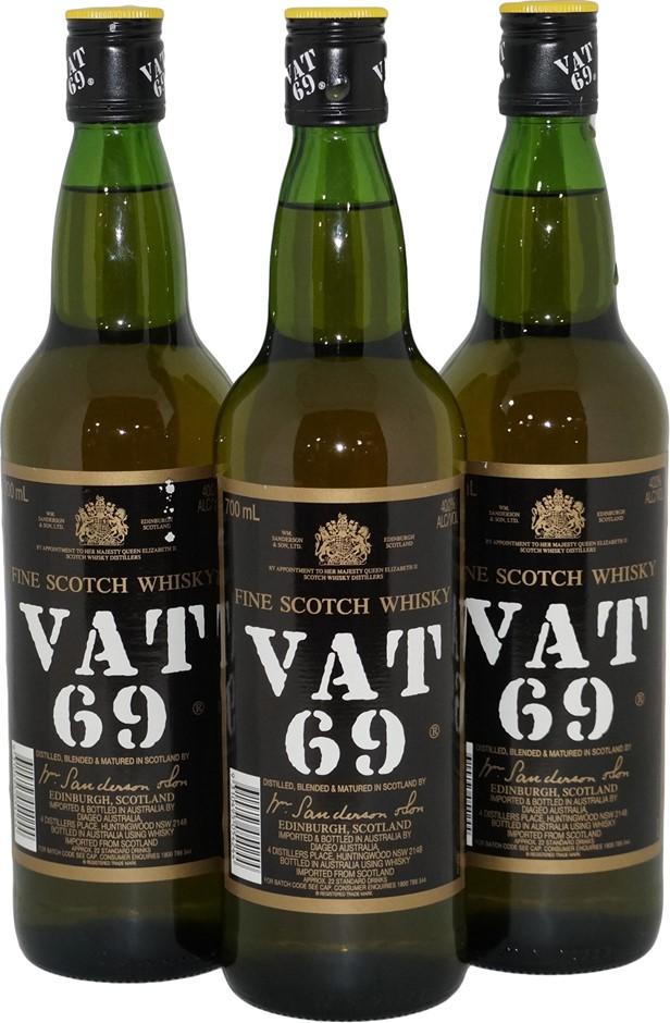Vat 69 Fine Scotch Whisky (3x 700mL), Scotland. Screwcap.