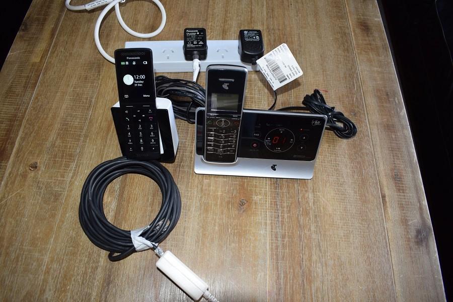 Bundle of 2 x TELSTRA & PANASONIC (Model: KX-PRS120AZ) Cordless Phones