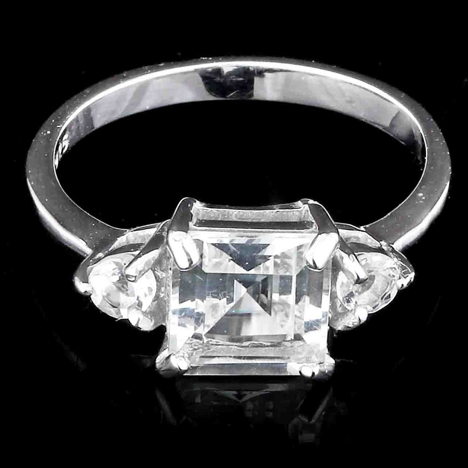 Genuine White Topaz Ring