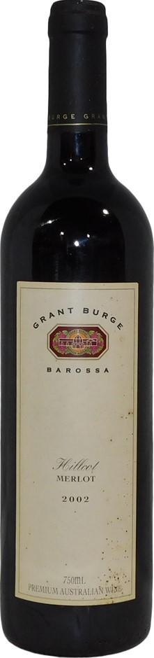 Grant Burge Hillcot Merlot 2002 (6x 750mL), Barossa. Cork