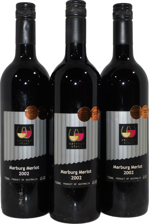 Warrego Wines Marburg Merlot 2002 (3x 750mL), QLD. Screwcap