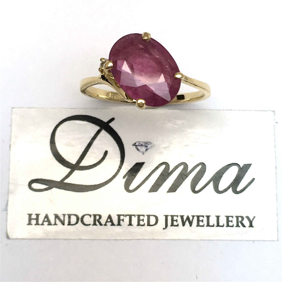 18ct Yellow Gold, 2.60ct Ruby and Diamond Ring