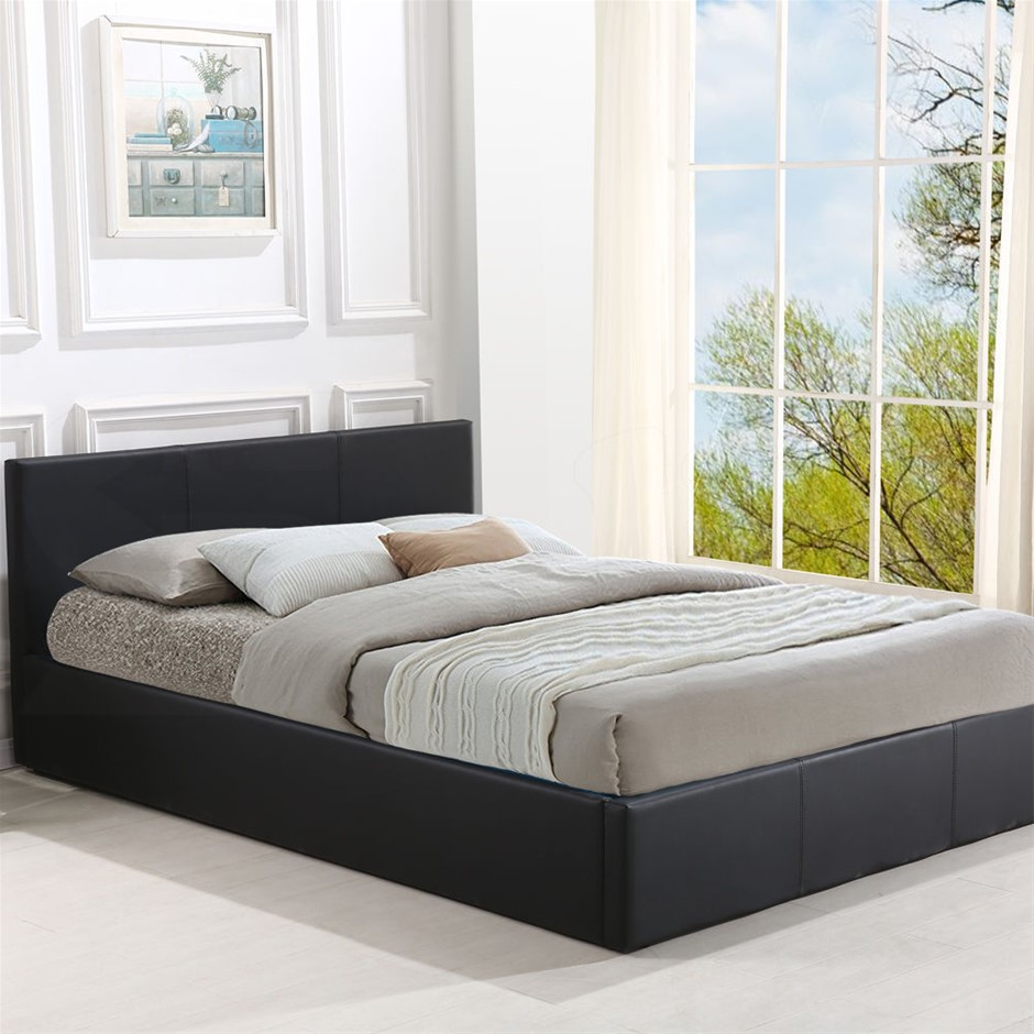 Levede Bed Frame Gas Lift Premium Leather Base Mattress King