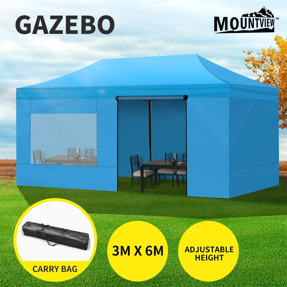 Mountview Gazebo Tent 3x6 Marquee Outdoor Camping Canopy Mesh Side Wall