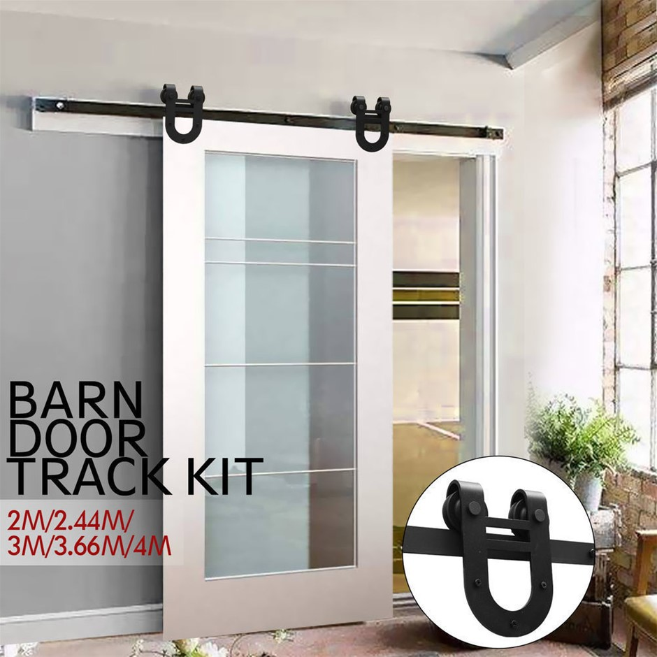 3.66M Antique Style Single Sliding Barn Door Hardware Track Roller Kit