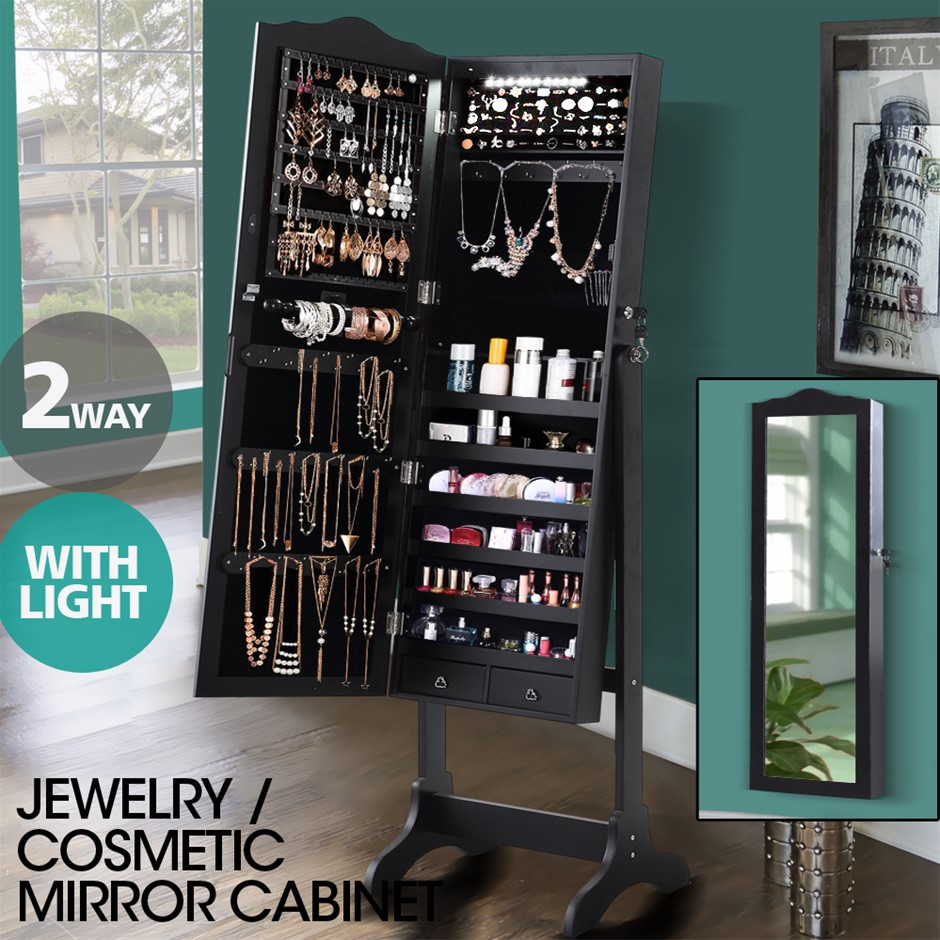 Levede Dual Use Mirrored Jewellery Dressing Cabinet with LED Light Colour