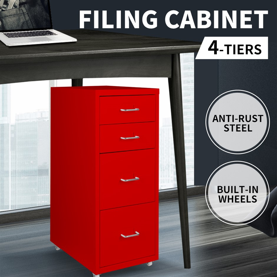 Metal File Cabinet Steel Orgainer With 4 Drawers Office Furniture Red