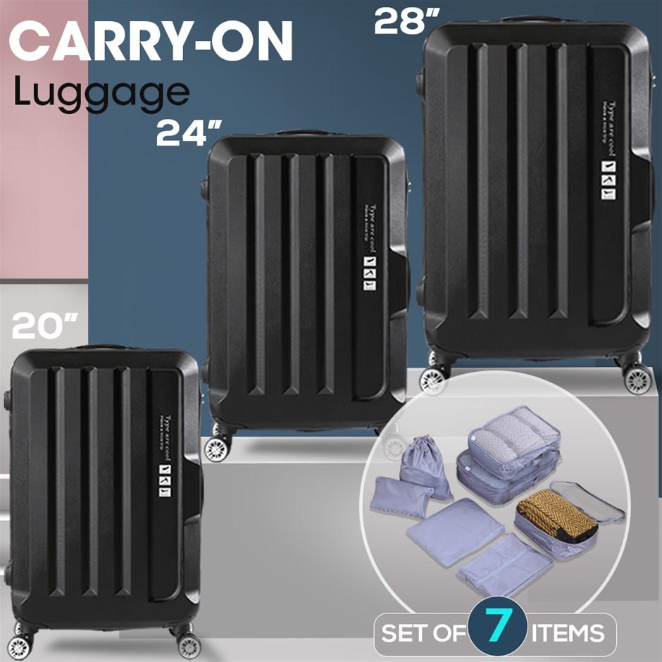 3 Pcs Luggage Set Travel Hard Case Lightweight Suitcase TSA lock Black