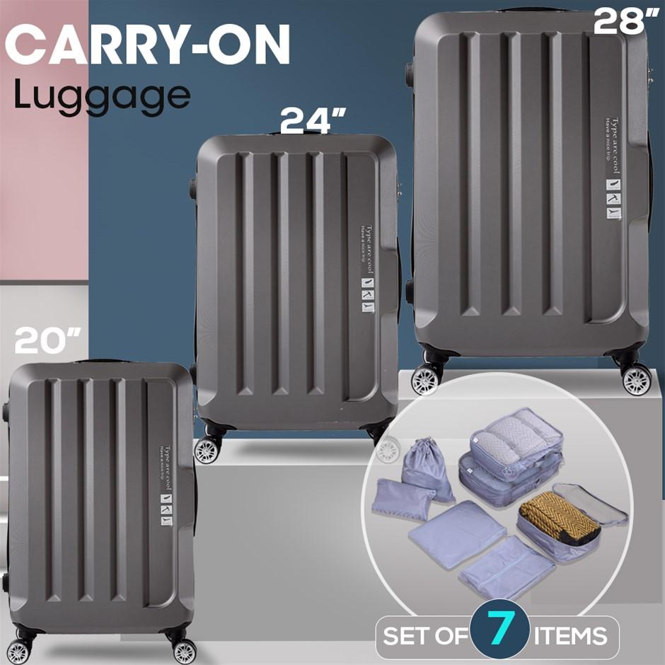 3pcs Luggage Sets Travel Hard Case Lightweight Suitcase TSA lock Dark Grey