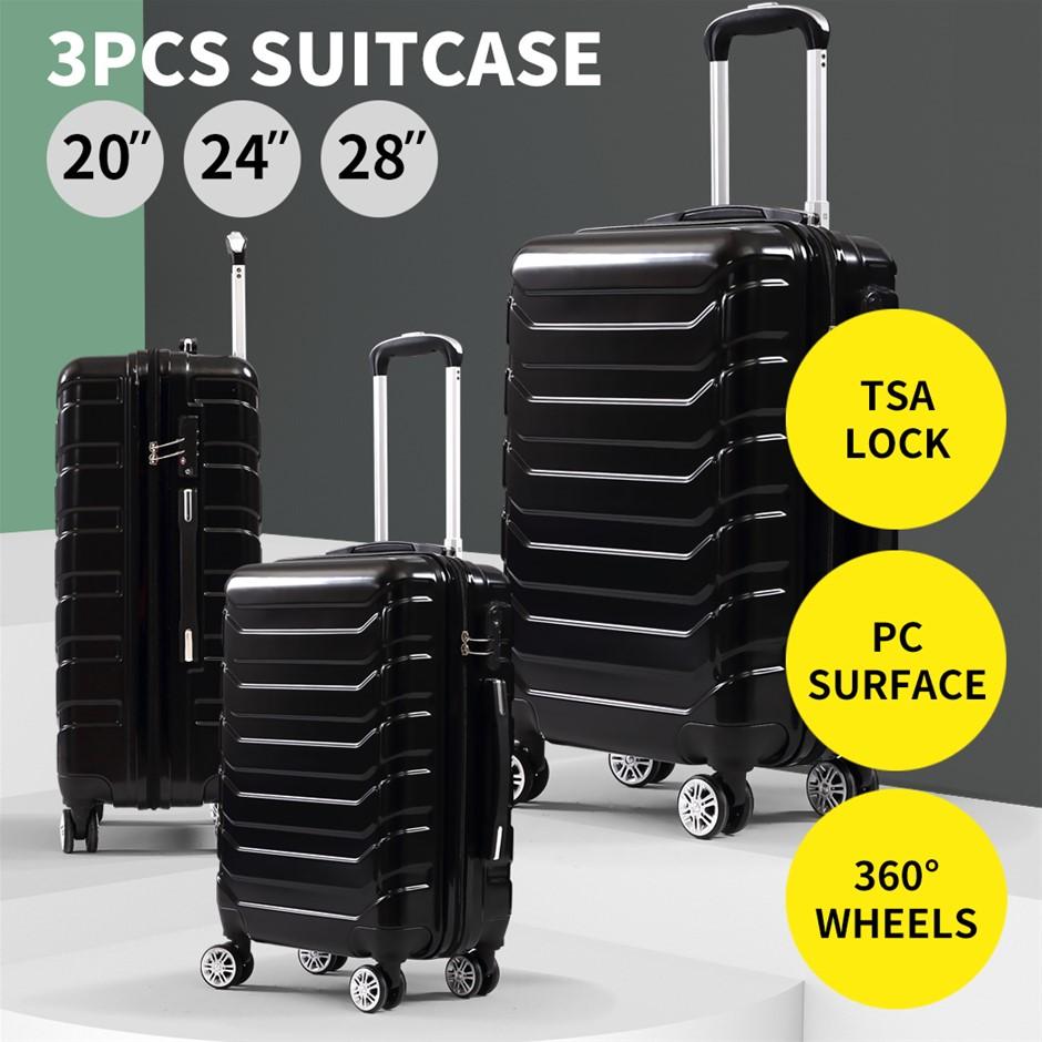 Suitcase Luggage Set 3 Piece Sets Travel Organizer Hard Cover Packing Lock