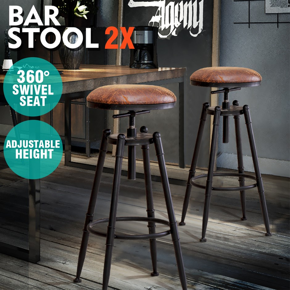 2x Levede Rustic Industrial Bar Stool Kitchen Stool Swivel Dining Chair