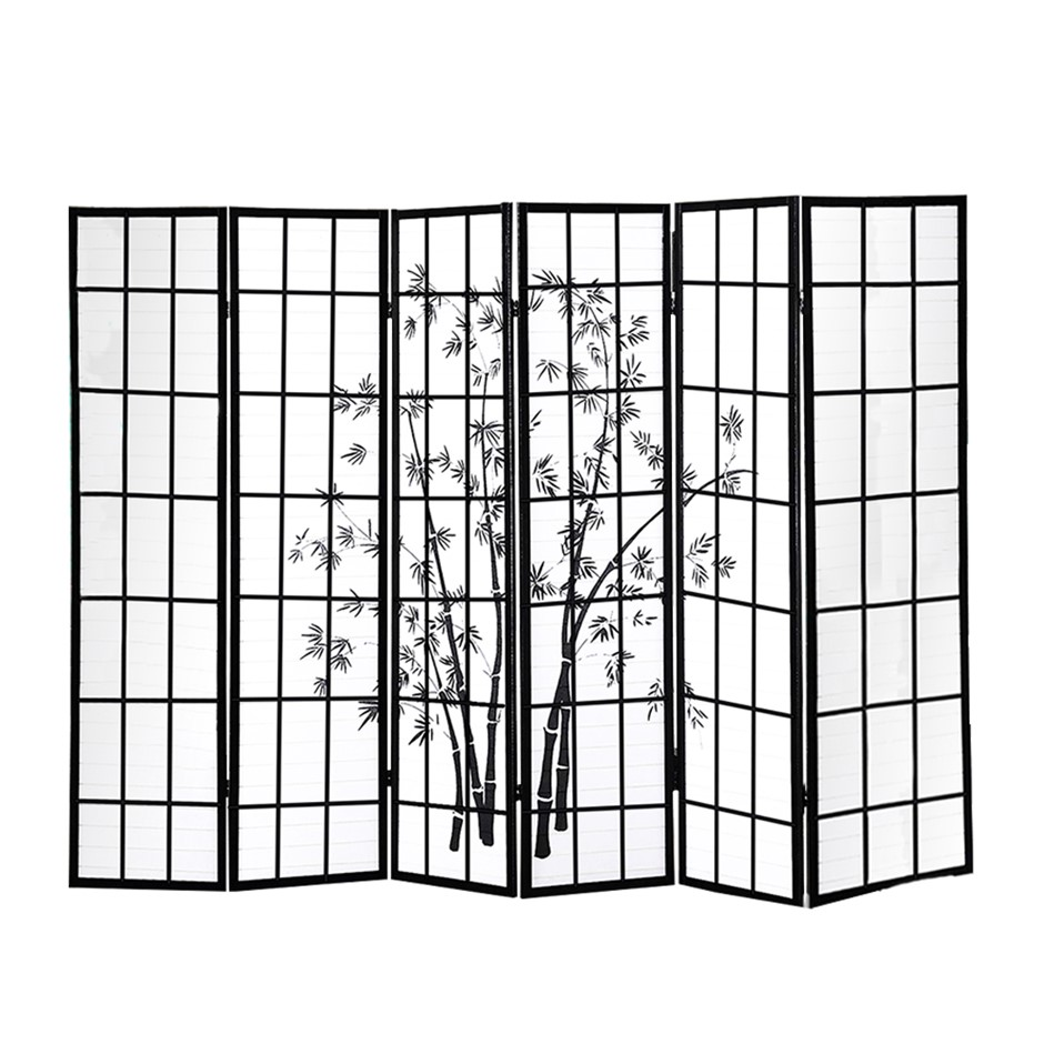 Levede 6 Panel Free Standing Foldable Room Divider Screen Bamboo Print