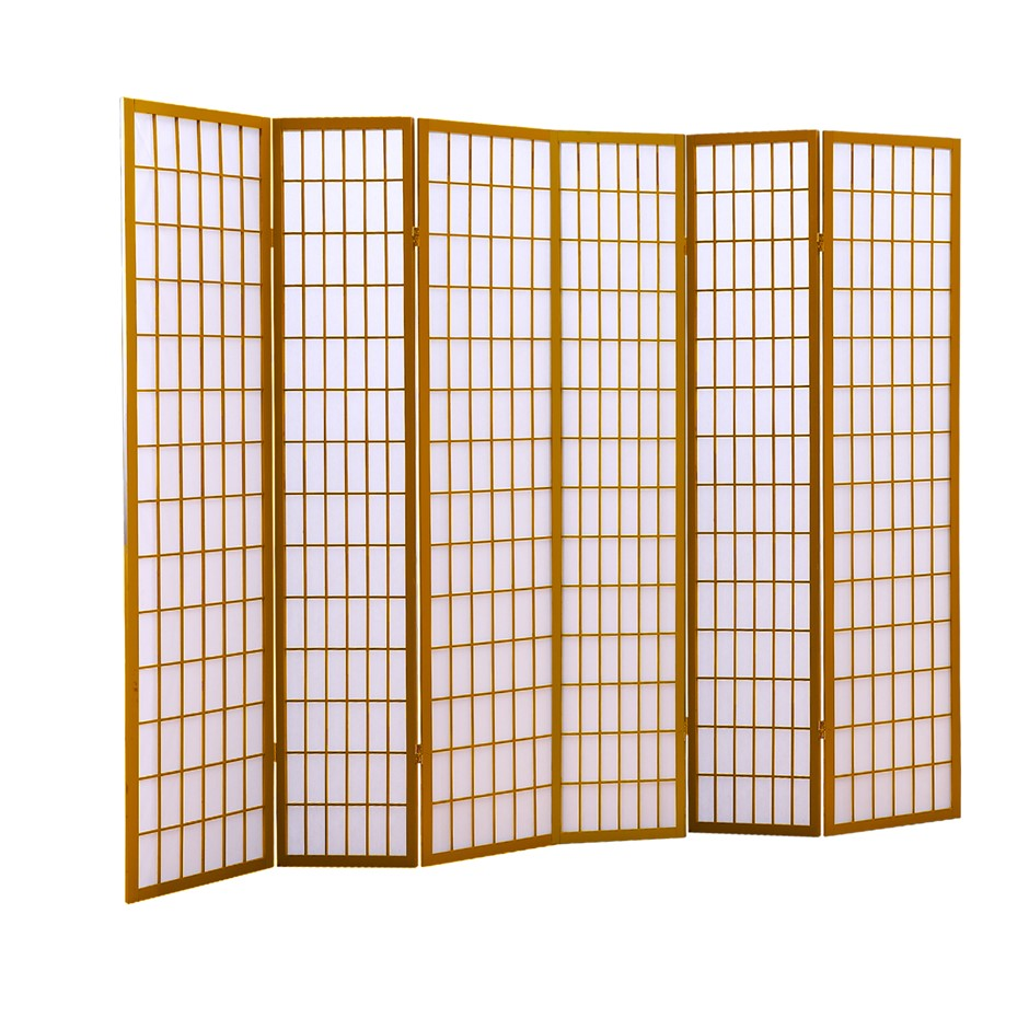 Levede 6 Panel Free Standing Foldable Room Divider Privacy Screen Wood