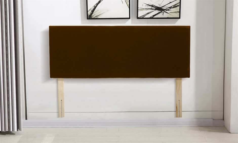 Levede PU Leather Bed Headboard with Wooden Legs Brown in Double Size