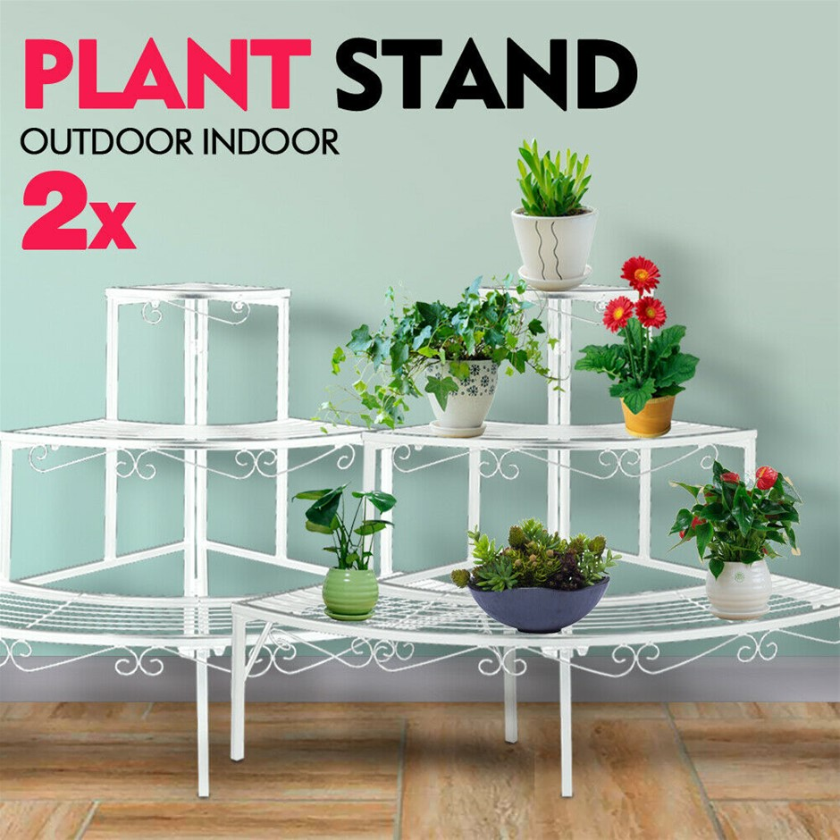 2x Levede Plant Stand Outdoor Indoor Metal 3 Tier Planter Corner Shelf