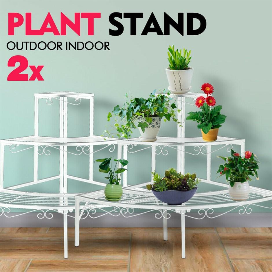 2x Levede Plant Stand Outdoor Indoor Metal 3 Tier Planter Corner Shelf