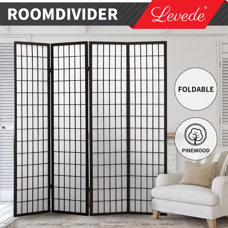 Levede Room Divider Screen 4 Panel Privacy Wooden Dividers Timber Stand