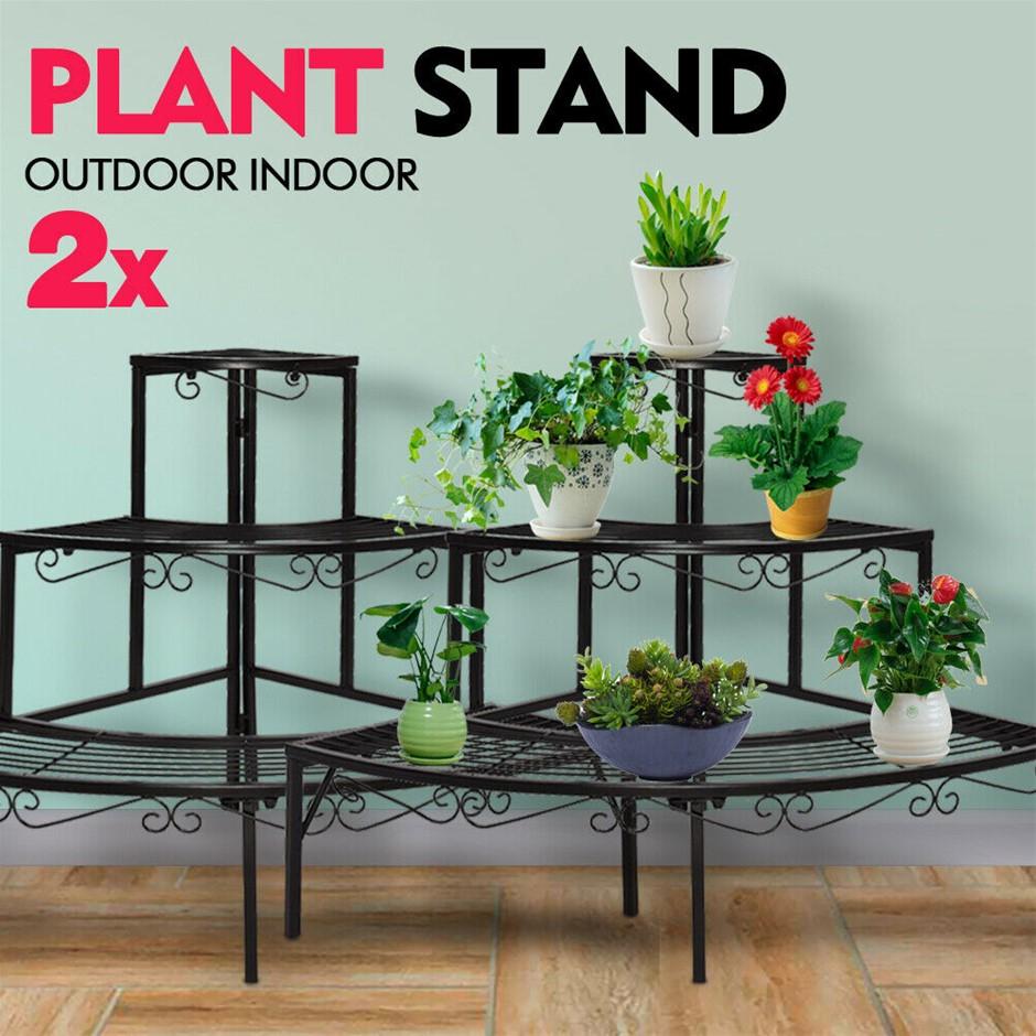 2x Levede Outdoor Indoor Plant Stand Metal 3 Tier Planter Corner Shelf