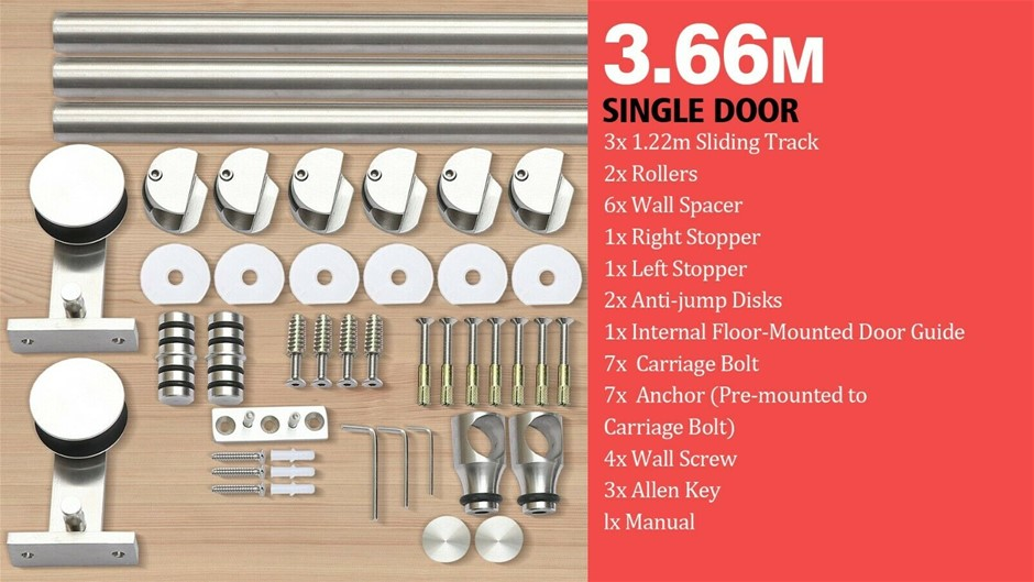 3.66M Antique Style Single Sliding Barn Door Hardware Track Roller Kit