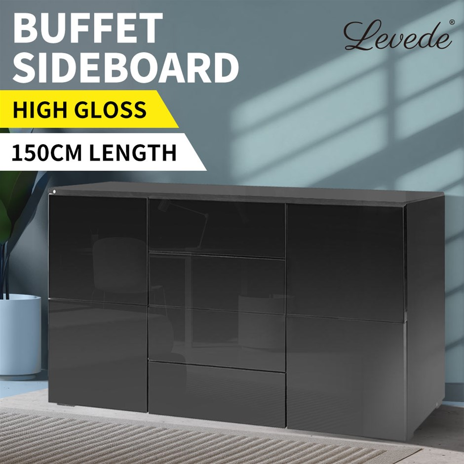 Levede Buffet Sideboard Cabinet Modern High Gloss Cupboard Drawers