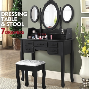 Levede Dressing Table&Stool 3 Mirror Cab