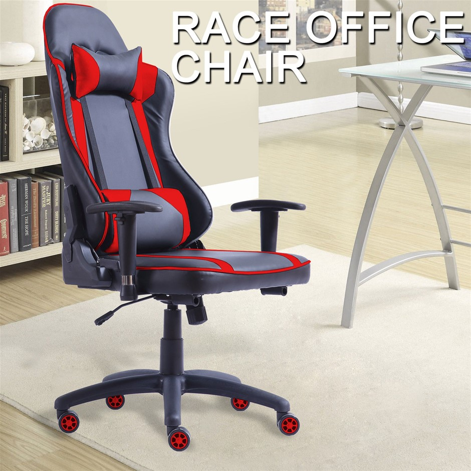 Levede Executive Gaming Chair Racing Computer PU Leather Recliner Red