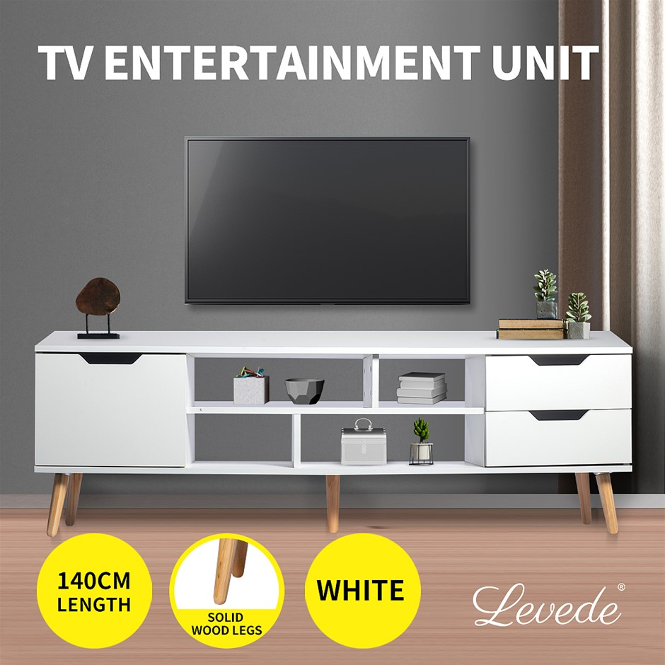 Levede TV Cabinet Entertainment Unit Stand Drawers Wooden Shelf