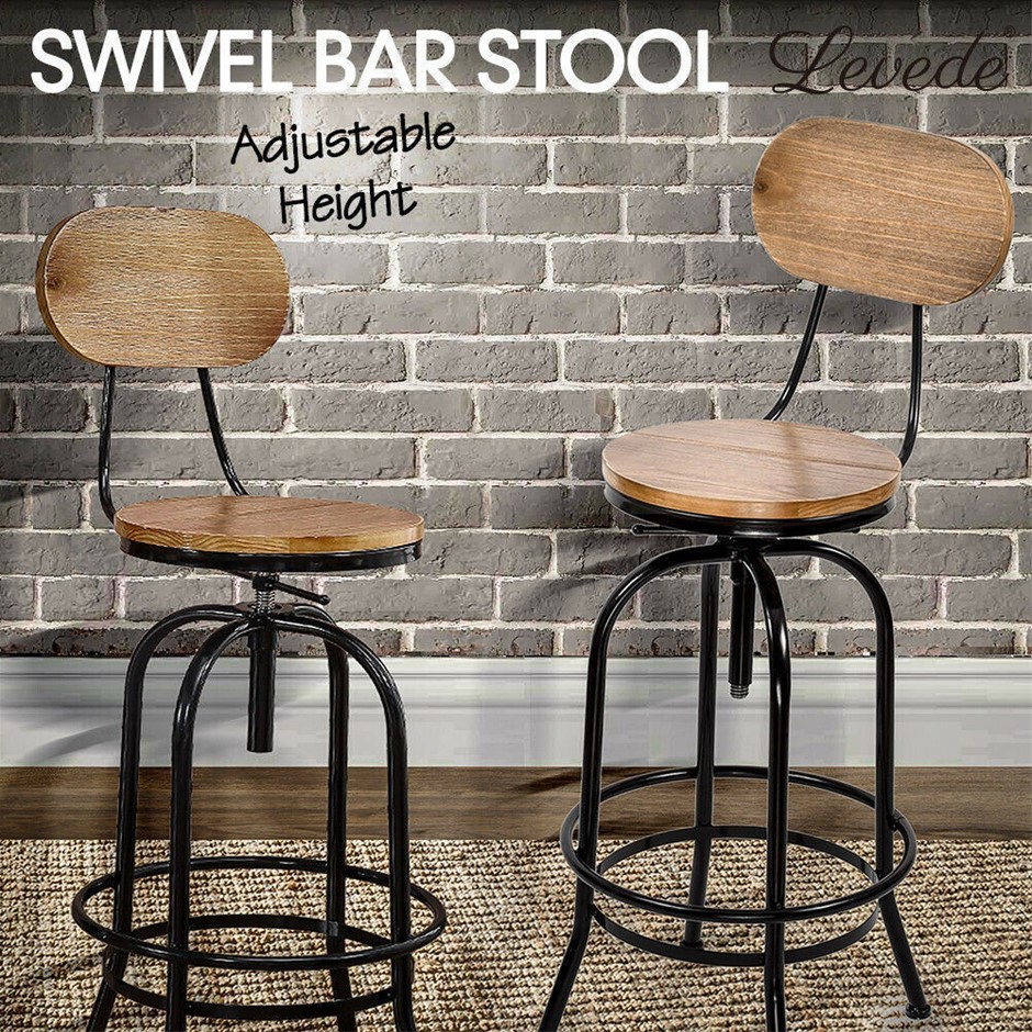 Levede Industrial Bar Stools Kitchen Stool Wooden Swivel Vintage Chair