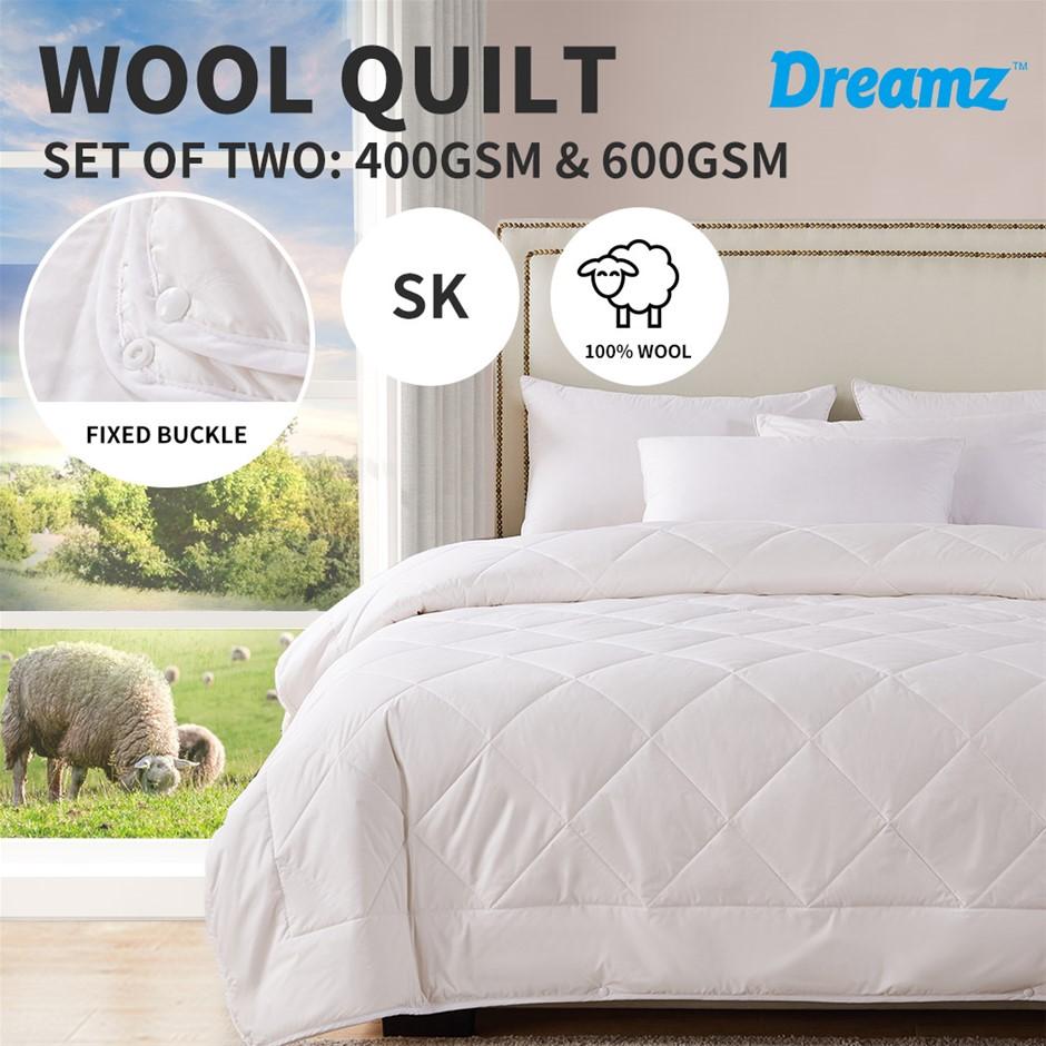 DreamZ 100% Wool Quilt 2-Piece 400/600GSM Doona Duvet Surper King