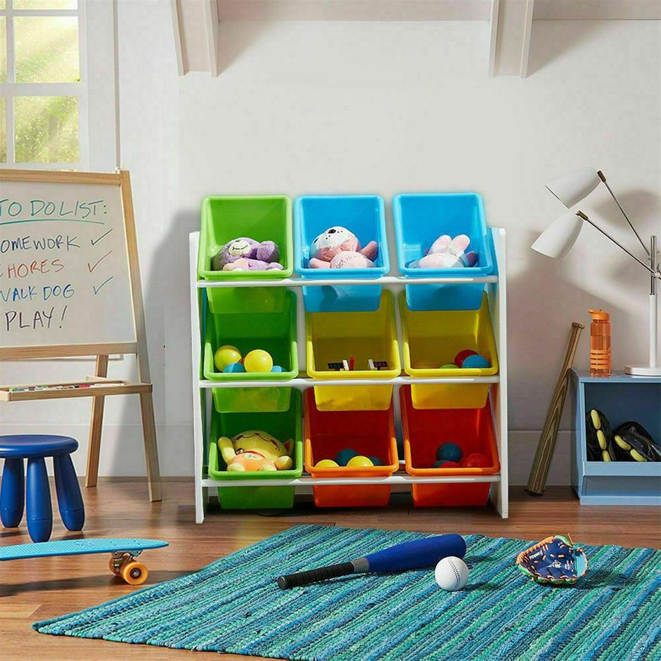 Levede 9 Bins Kids Toy Box Bookshelf Organiser Display Shelf Rack Drawer
