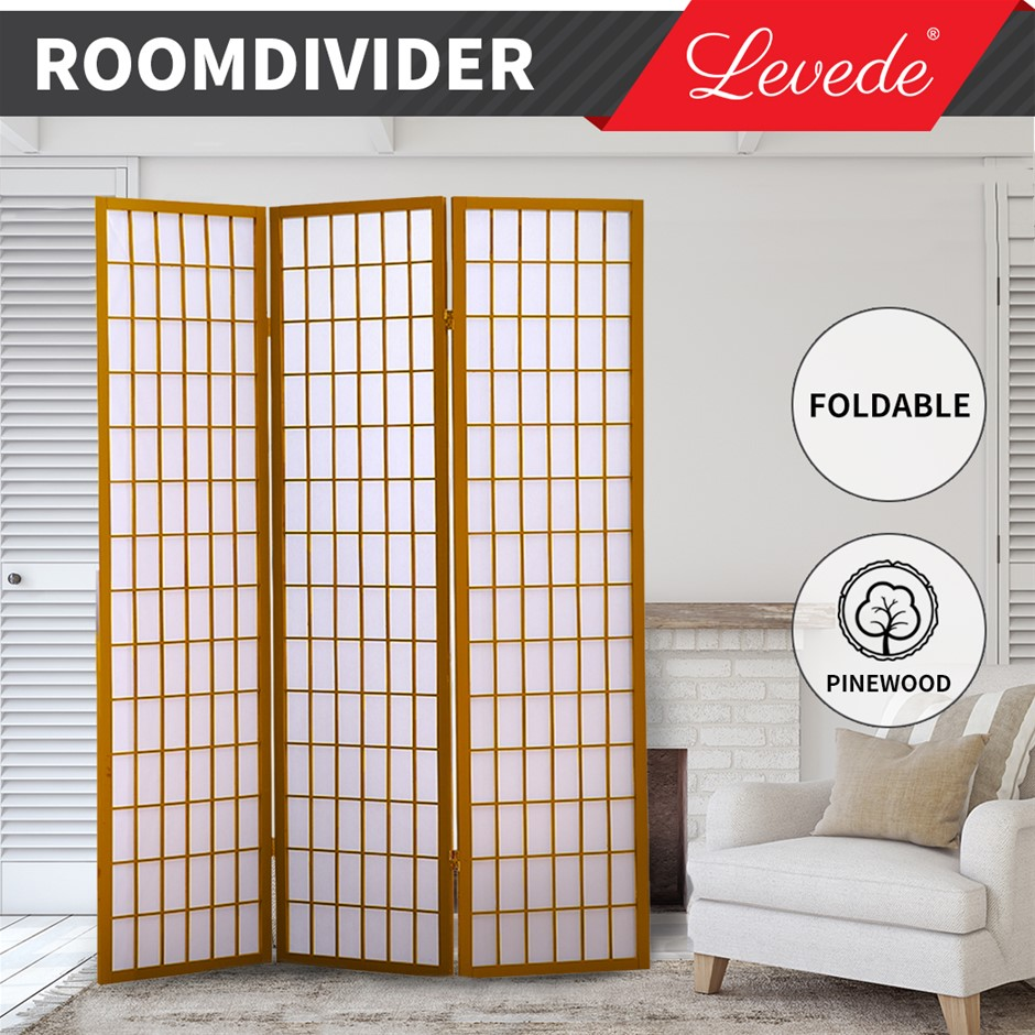 Levede Room Divider Screen 3 Panel Wooden Dividers Timber Stand Natural