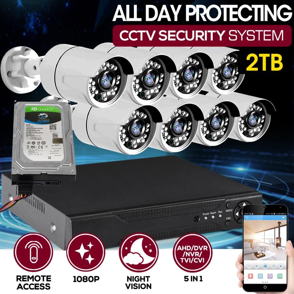 8CCTV Cameras 1080P HDMI 8CH DVR Security System IR Night Vision 2TB Space