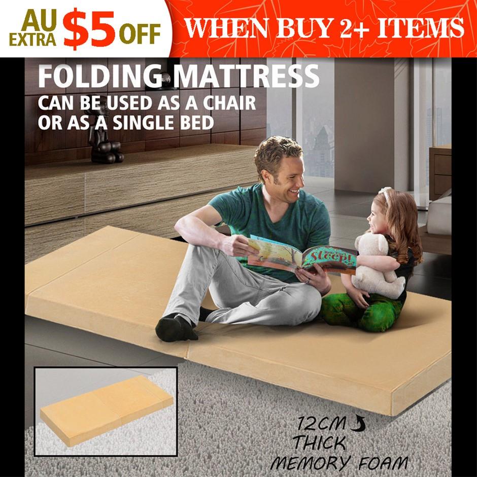 Portable Sofa Bed Folding Mattress Foldable Cushion Lounge Chair Cream