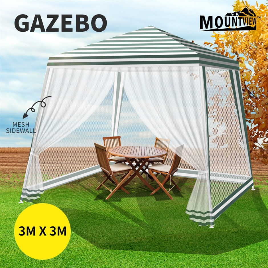 Mountview Gazebo Pop Up Marquee Outdoor Canopy 3x3m Tent Mesh Side Wall