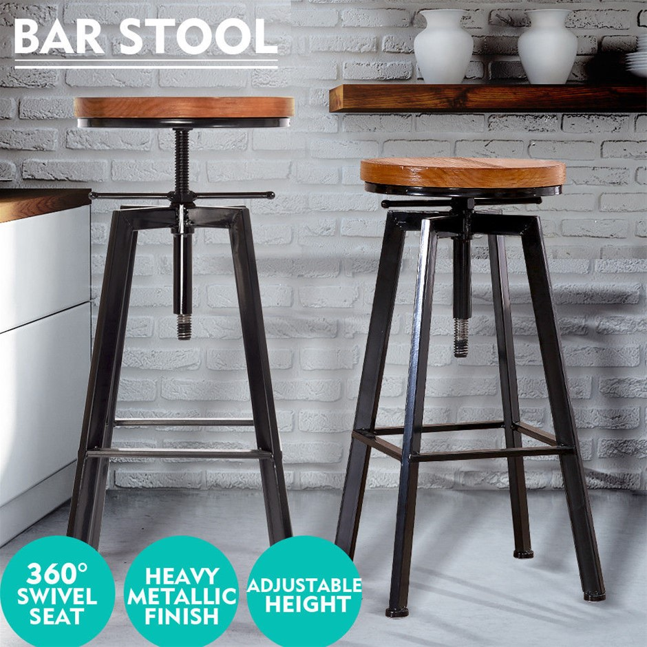 Levede Industrial Bar Stools Kitchen Stool Wooden Swivel Chair Vintage